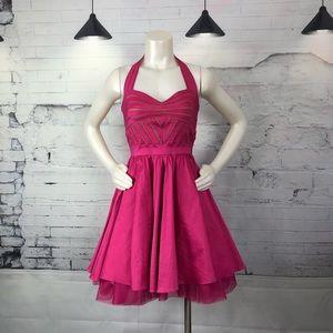 Aqua Dress Halter Pink Pocket Petticoat Dress 1214